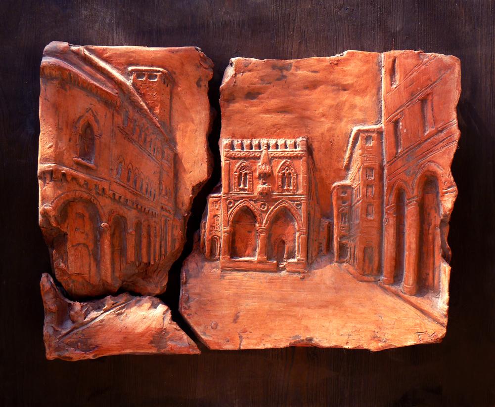 piazza mercanzia immagine pannello terracotta