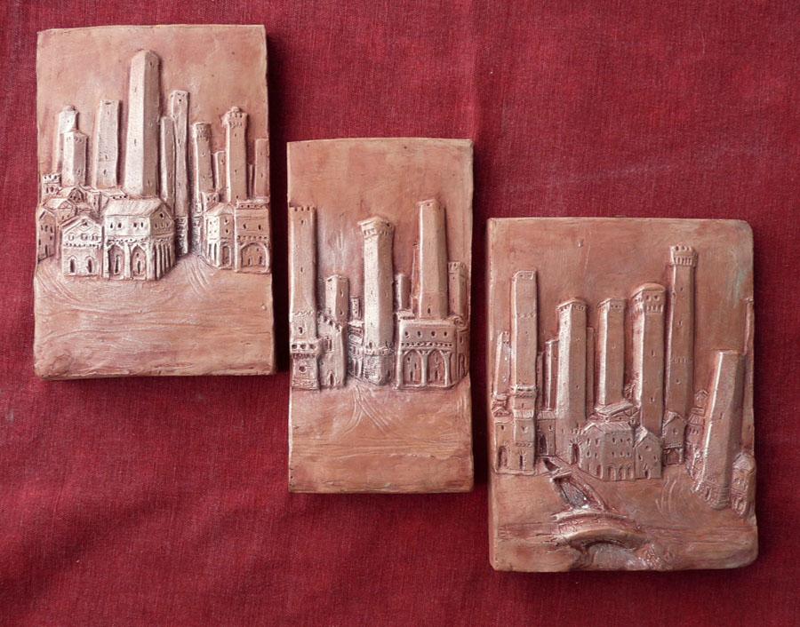trittico bassorilievi argilla